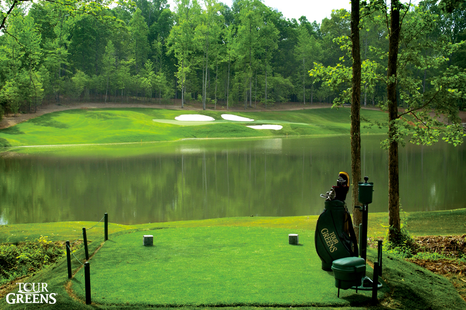 Large backyard with a putting green modeled after Augusta National's famed #12 hole
