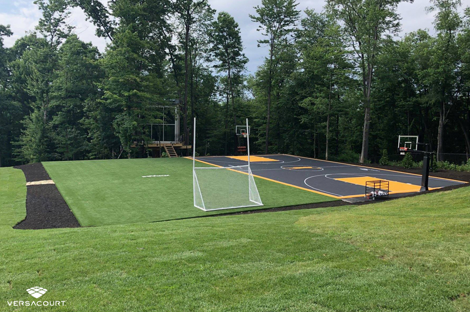 Backyard built for at-home training for a professional athlete