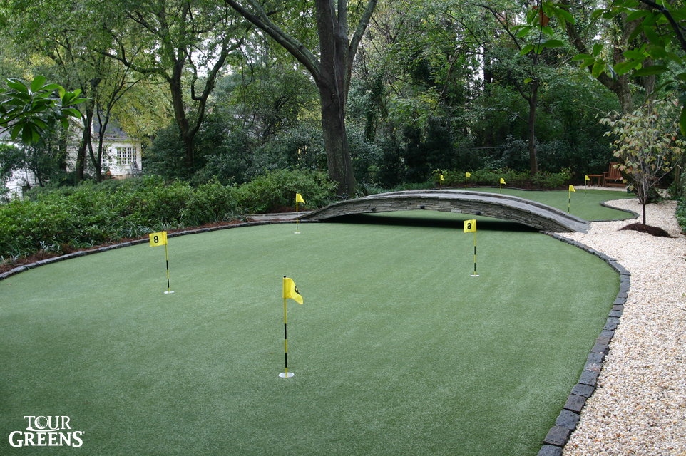 Tour Greens synthetic turf putting green installed in the backyard