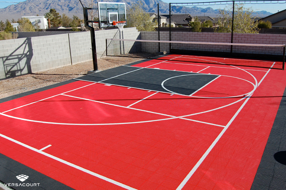 Desert backyard with VersaCourt's multi-sport court installed