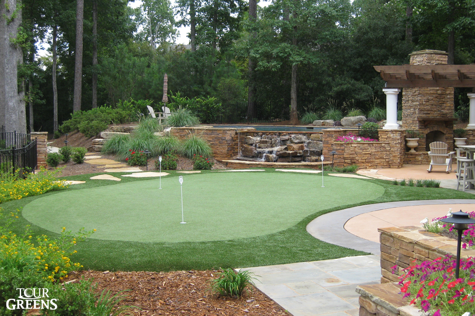 Backyard putting green installed in the outdoor living space