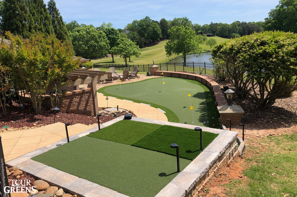 Backyard putting green with different turf to practice chipping