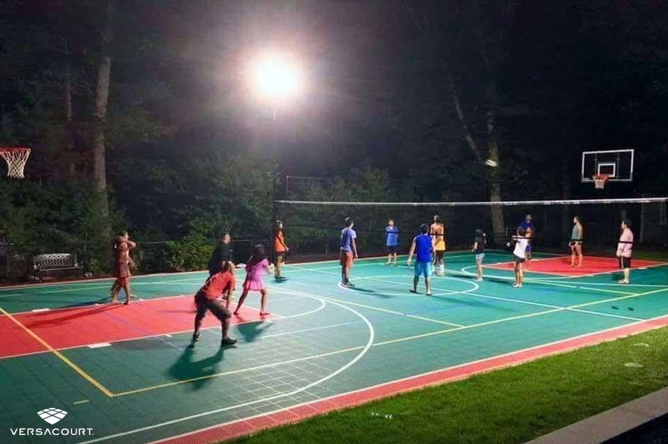 VersaCourt's multi-sport game court with court-lighting