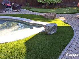 Artificial grass around backyard swimming pool