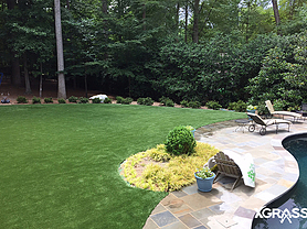 Artificial grass installed in the backyard next to pool