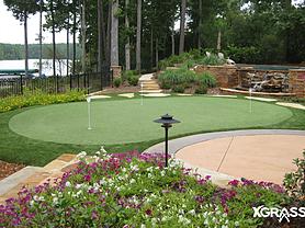 Backyard putting green next to pool