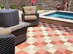 Swisstrax's Ribtrax tiles installed next to backyard pool